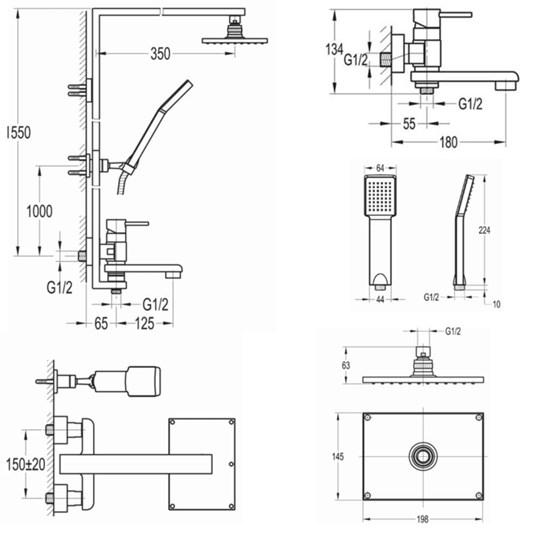 Flova Essence Manual Shower Column with Handset, Overhead