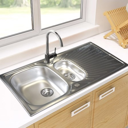 1.5 Bowl Kitchen Sink Astracast sunrise 15 bowl polished stainless steel sink with astracast sunrise 15 bowl polished stainless steel sink with reversible drainer 965 x 500mm su15xxbqsk workwithnaturefo