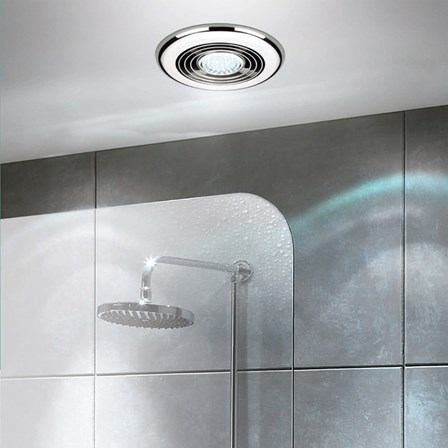 extractor fan with light bathroom hib cyclone cool white led illuminated inline chrome 23147