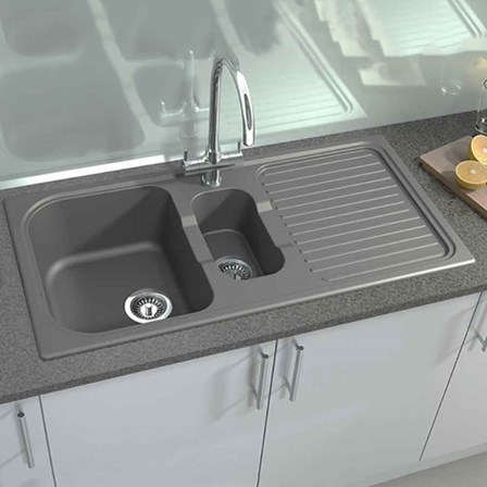 Astracast 1.5 Bowl Grey Granite Composite Kitchen Sink with Drainer ...
