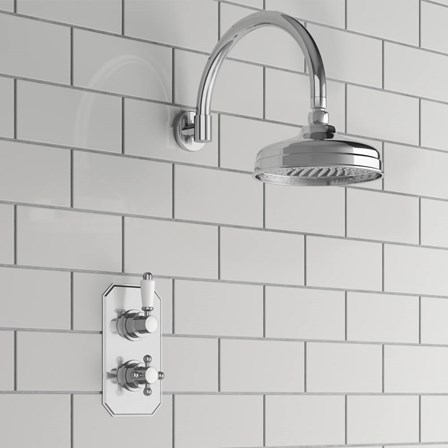 Aldra Traditional Concealed Shower Valve & Fixed Shower Head   Tap ...