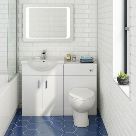 Vellamo alpine 1150mm white gloss furniture suite with for 1150mm shower door