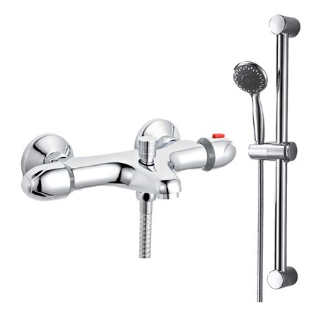 Amity Wall Mounted Thermostatic Bath Shower Mixer & Slide Rail Kit - amity-shower-bundle