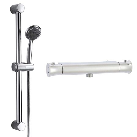 Aran Thermostatic Bar Shower Valve & Slide Rail Kit - aran-shower-bundle