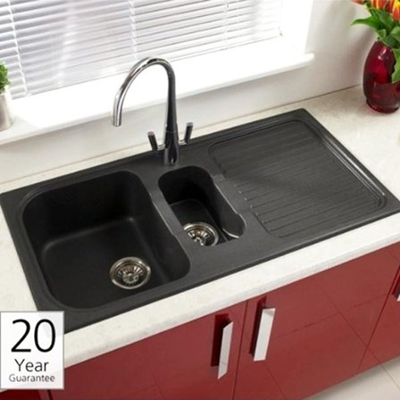 Chrome Kitchen Sink Astracast 15 bowl black granite rok composite sink vellamo twist view larger image gallery image workwithnaturefo