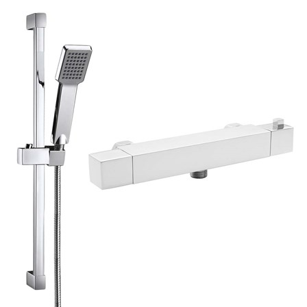 Comino Square Thermostatic Bar Shower Valve & Slide Rail Kit - comino-shower-bundle
