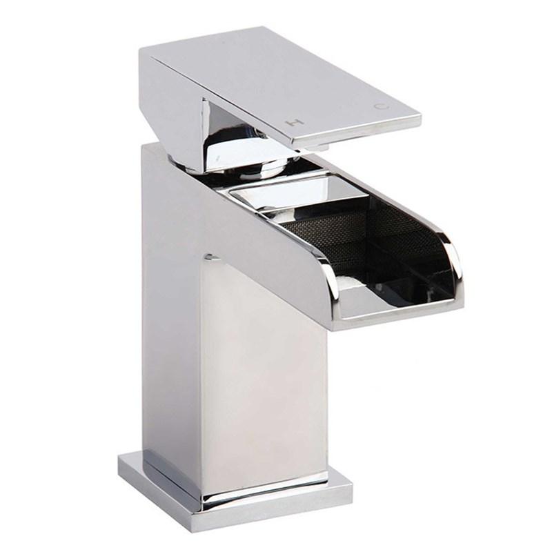 Vellamo Reve Waterfall Basin Mixer Tap with Clicker Waste -
