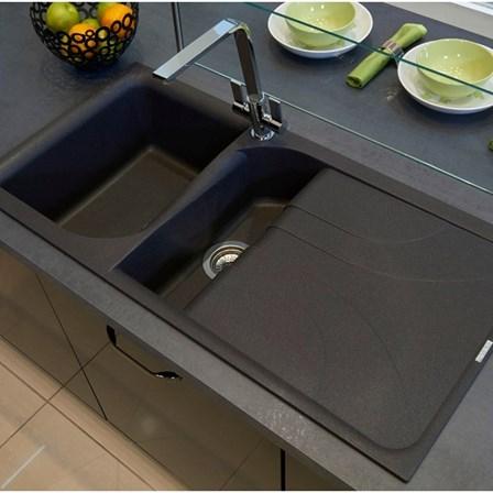 Reginox Ego 1 5 Bowl Black Granite Composite Kitchen Sink