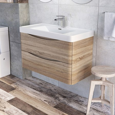 Harbour clarity 900mm wall mounted light oak vanity unit with white gallery image mozeypictures Gallery