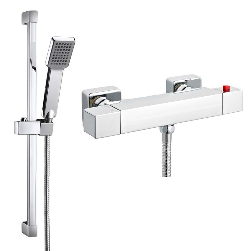 Hayling Square Thermostatic Bar Shower Valve & Slide Rail Kit - hayling-shower-bundle