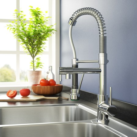 A modern pull out spray kitchen tap