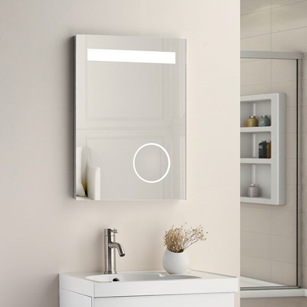 Vellamo LED Illuminated Bathroom Magnifying Mirror With Demister Pad Shaver Socket