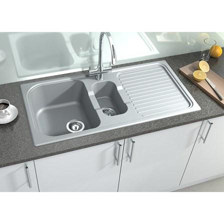 Astracast 1.5 Bowl Concrete Grey Granite ROK Composite Sink & Waste ...