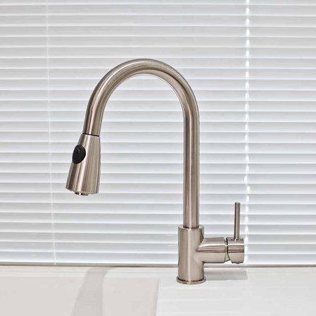 A unique tap, with a lever and button control for versatile use