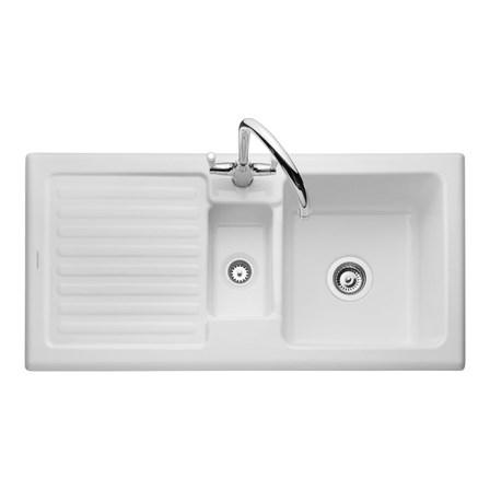 Rangemaster Rustic 1 5 Bowl White Ceramic Sink Waste Kit Reversible Rollover Image