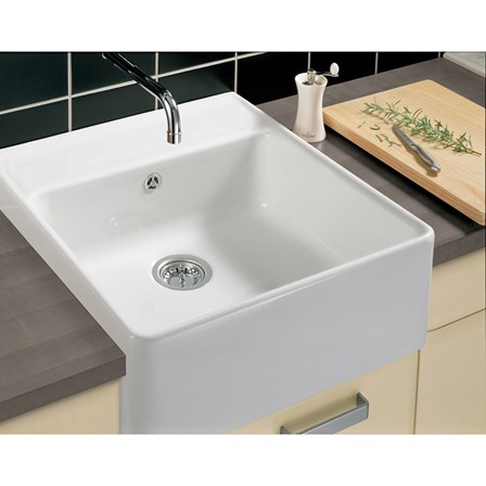 Villeroy boch butler 60 white ceramic plus single bowl belfast sink with tap ledge 595mm x - Butler kitchen sinks ...
