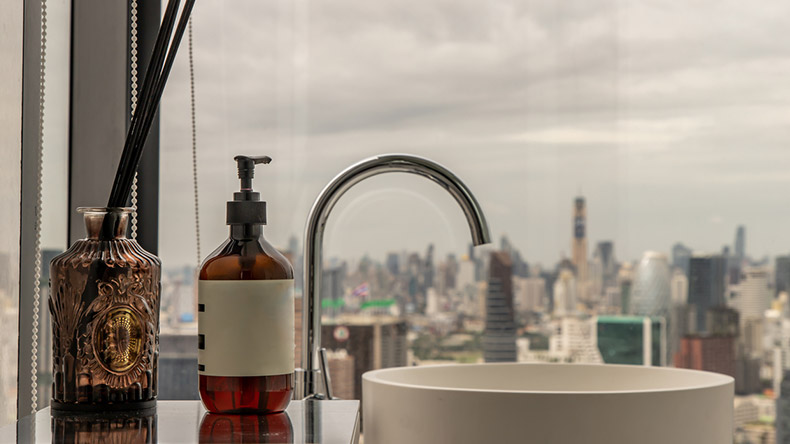 bathroom basin with a city view